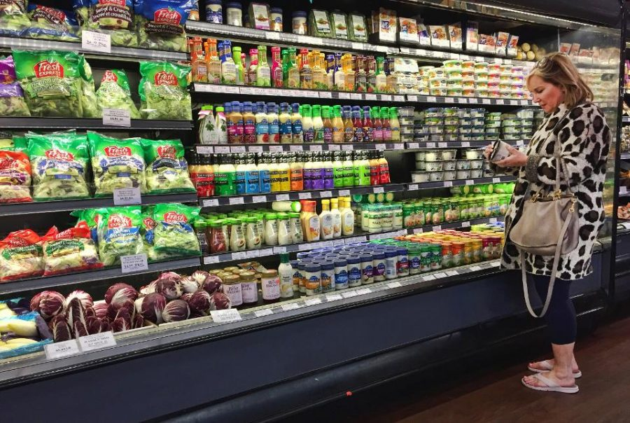 Woman shops for groceries amid panic in New York City.
