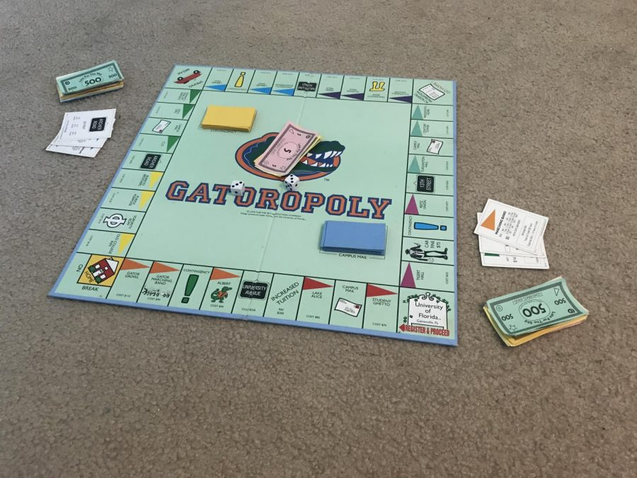 A+game+of+Gatoropoly+in+which+the+classic+properties+of+Monopoly+are+based+off+of+famous+Gainesville+locations.