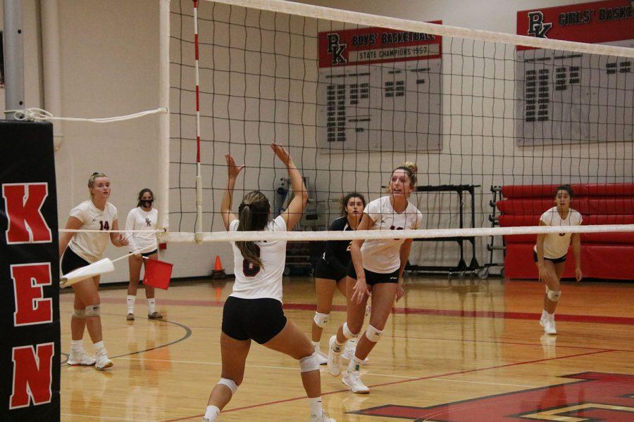 Junior Hana Hurdle goes up to set the ball.