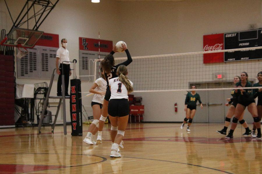 Junior Tina Nika sets the ball.