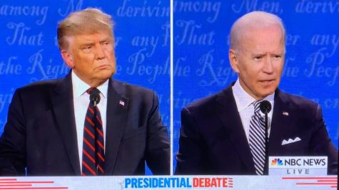 The two candidates during the debate.
