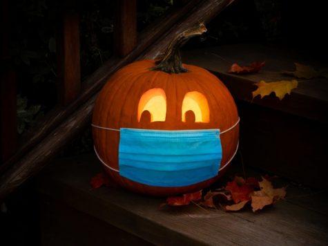 Even the pumpkin wears a mask!