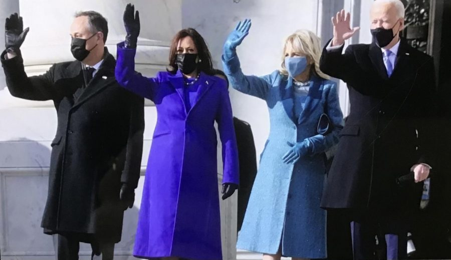 Vice President Kamala Harris and President Joe Biden wave with their spouses.