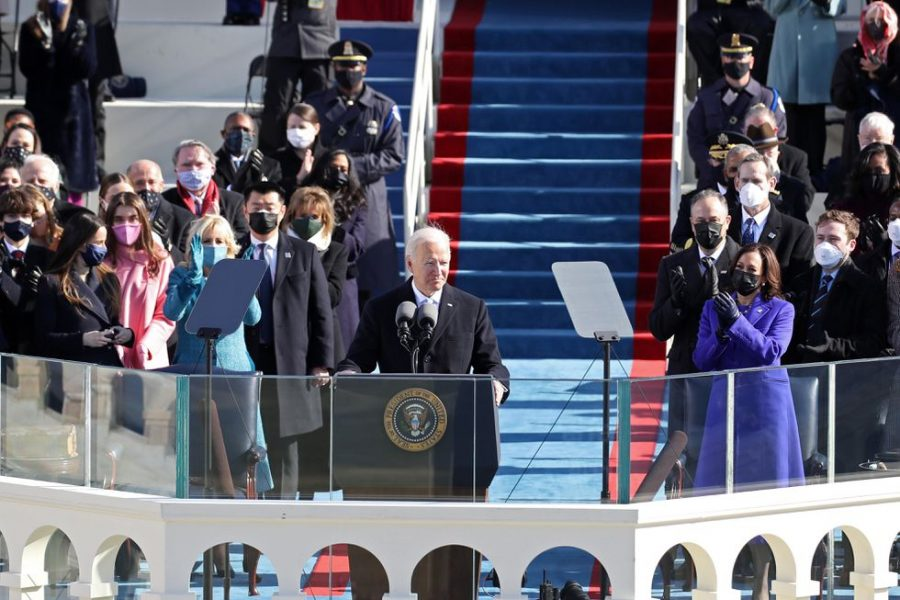 President Joe Biden being sworn in at Capitol Hill. (Image courtesy of CNET).