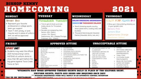 Bishop Kenny announces this year's plan for Homecoming week (Courtesy of Bishop Kenny Schoology).